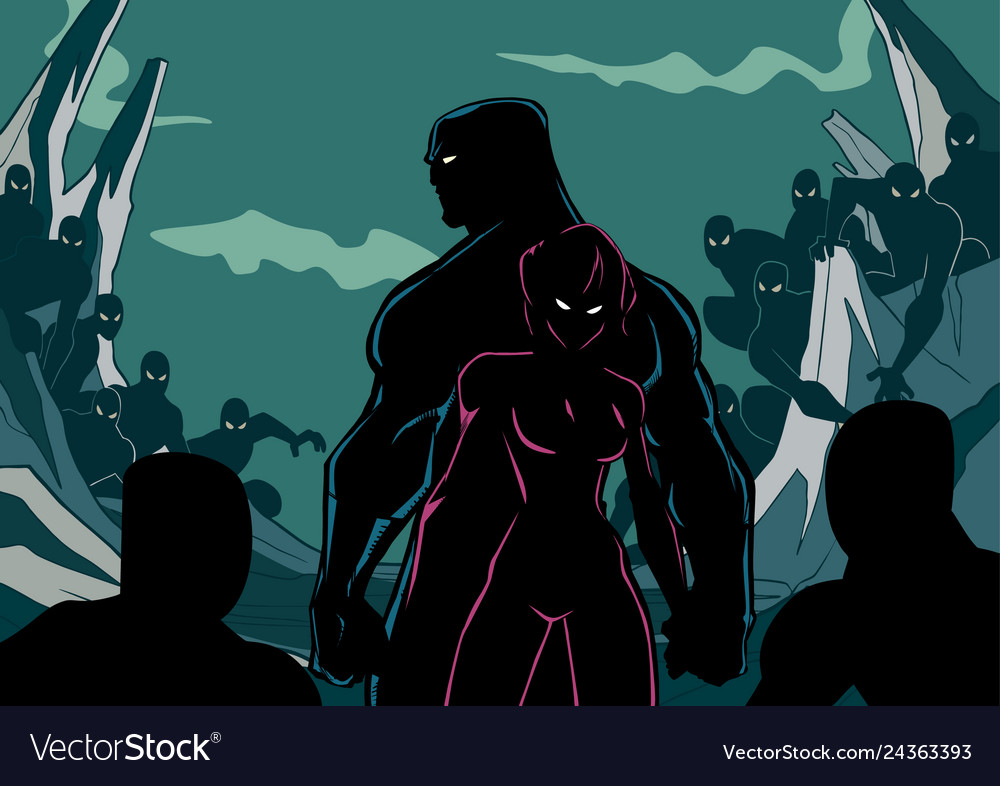 Superhero couple minions silhouette