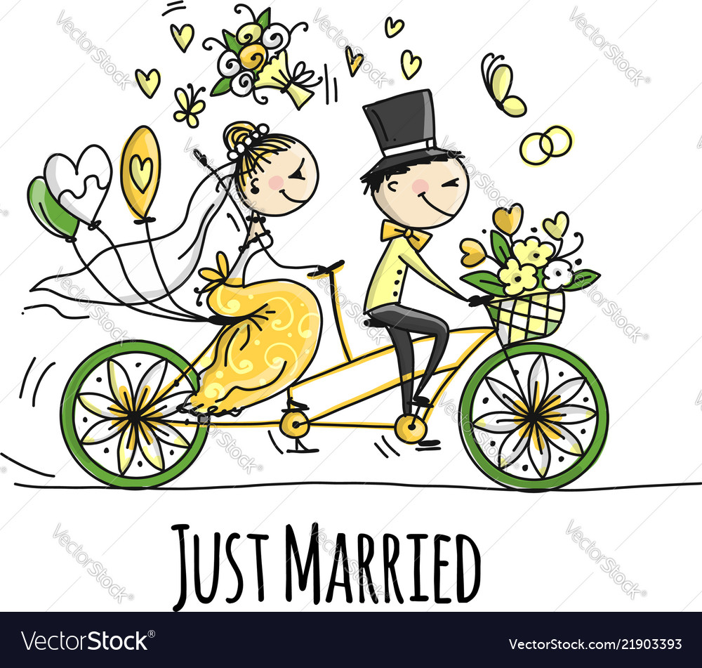 Wedding card design bride and groom riding on