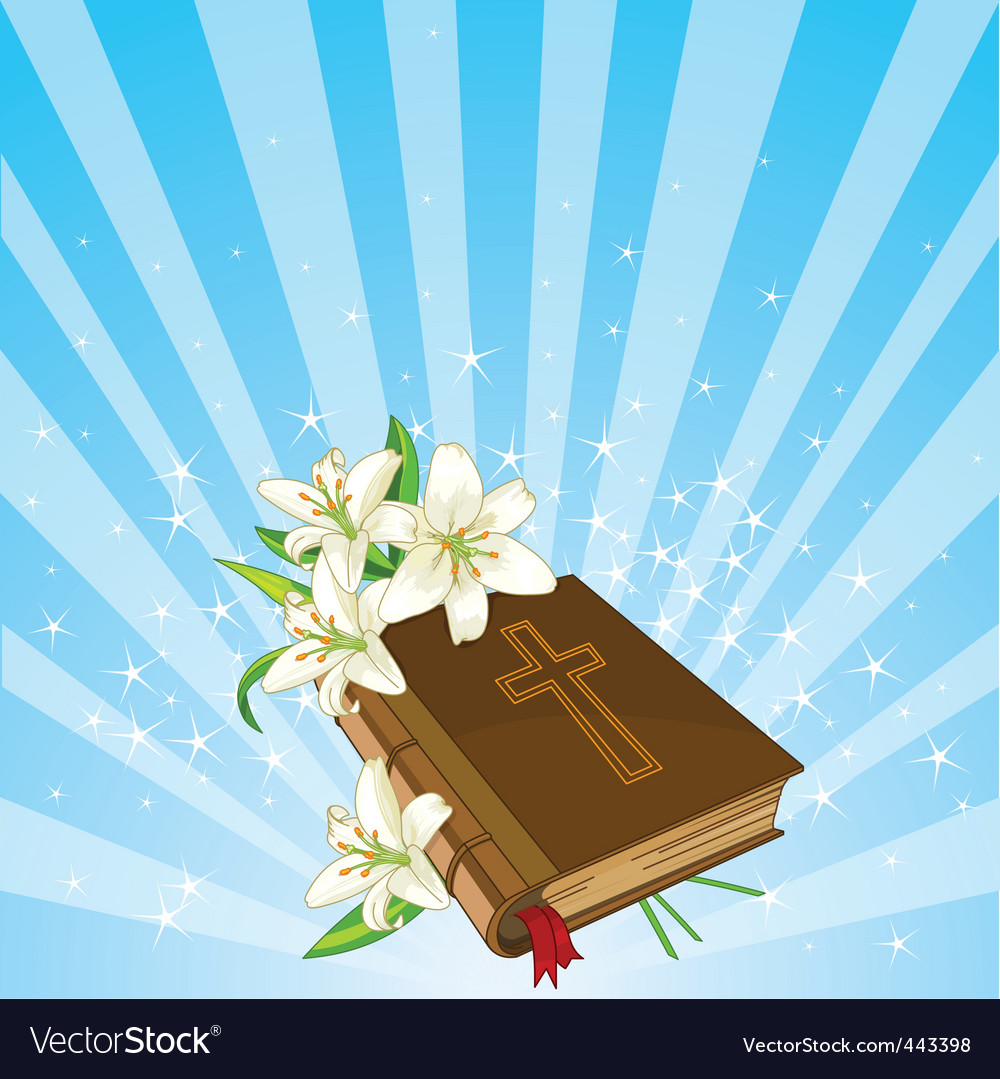 Bible And Lily Flowers Background Royalty Free Vector Image