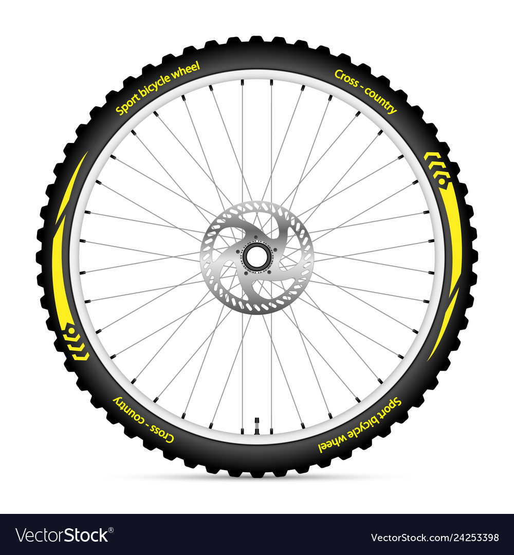 Bike icon wheel with best sport tire on white