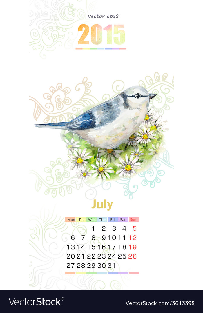 Calendar For 2015 July Royalty Free Vector Image