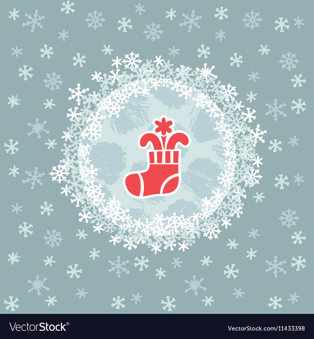 Christmas And New Year Round Frame With Stocking Vector Image