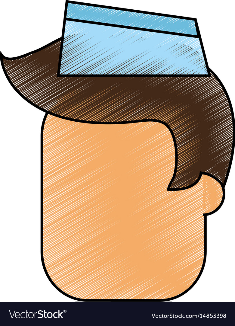 Color pencil cartoon faceless male food seller vector image