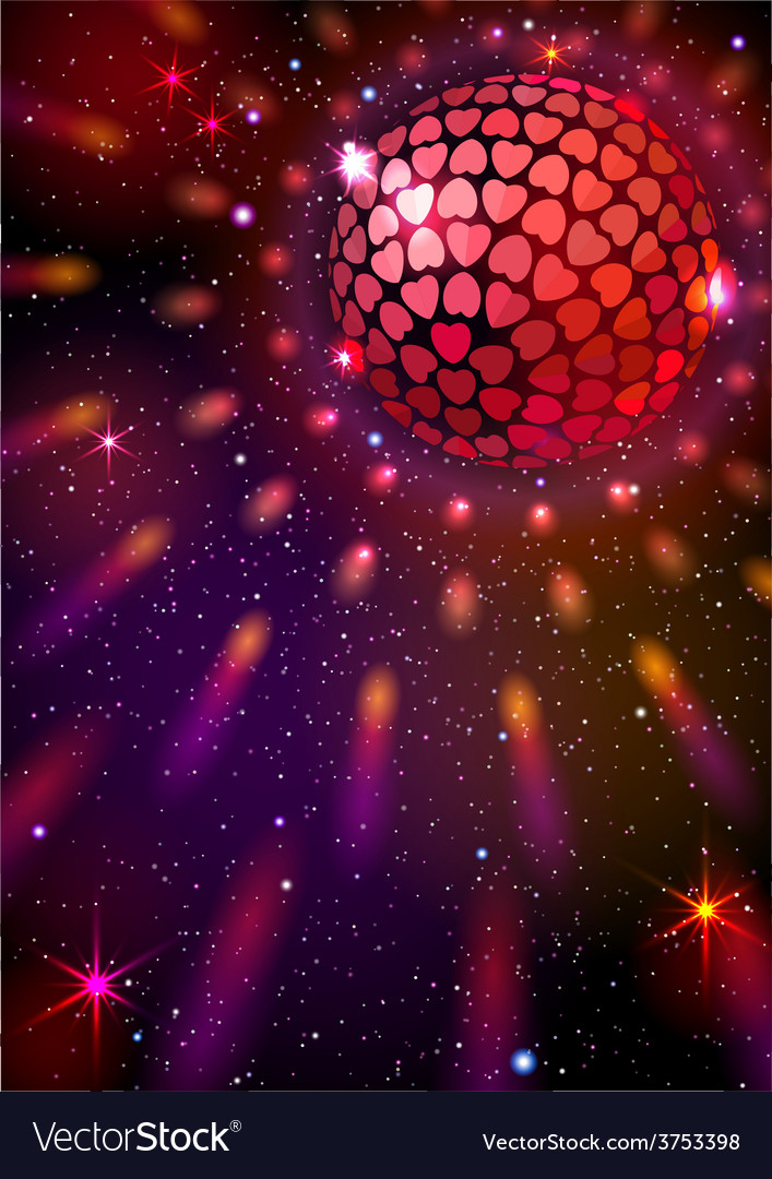 Disco Ball with Hearts background