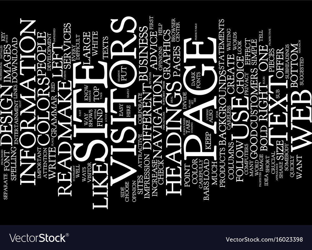 Essential of good web design text background word vector image