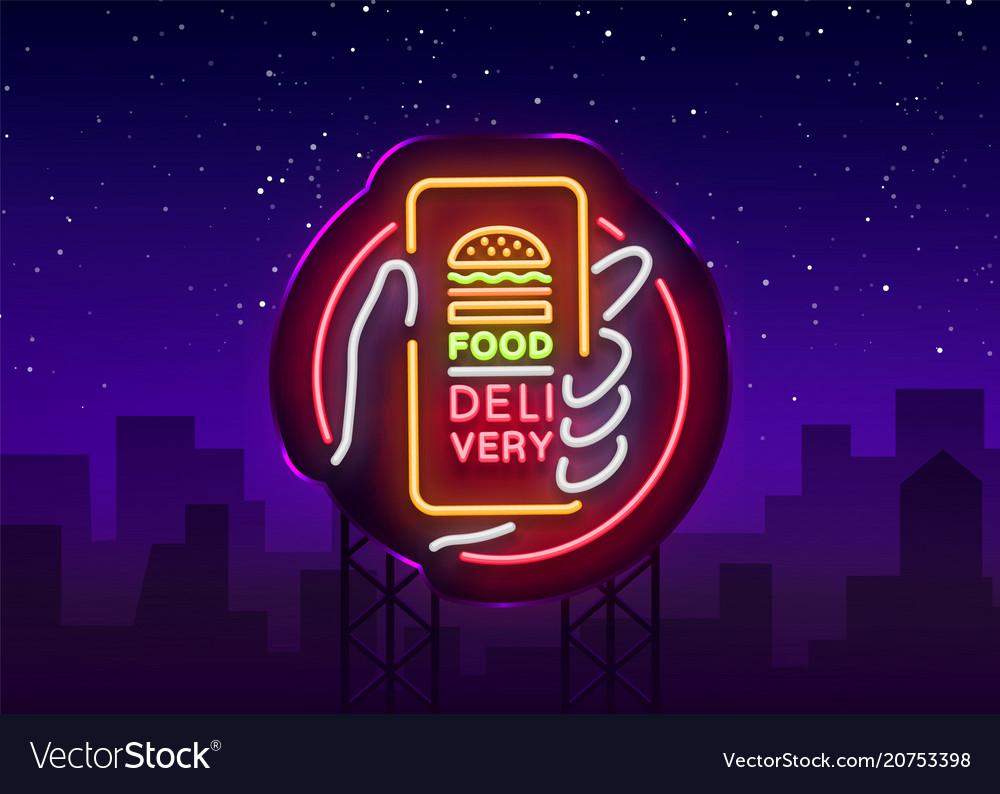 Food delivery neon sign smartphone in hands