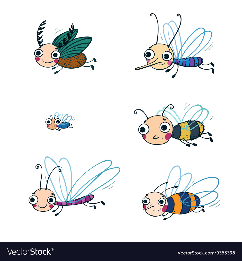 Funny insect cartoon set