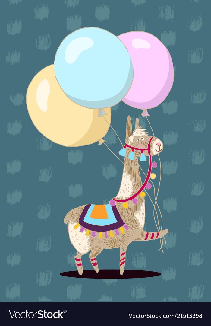 Greeting card design cheerful lama