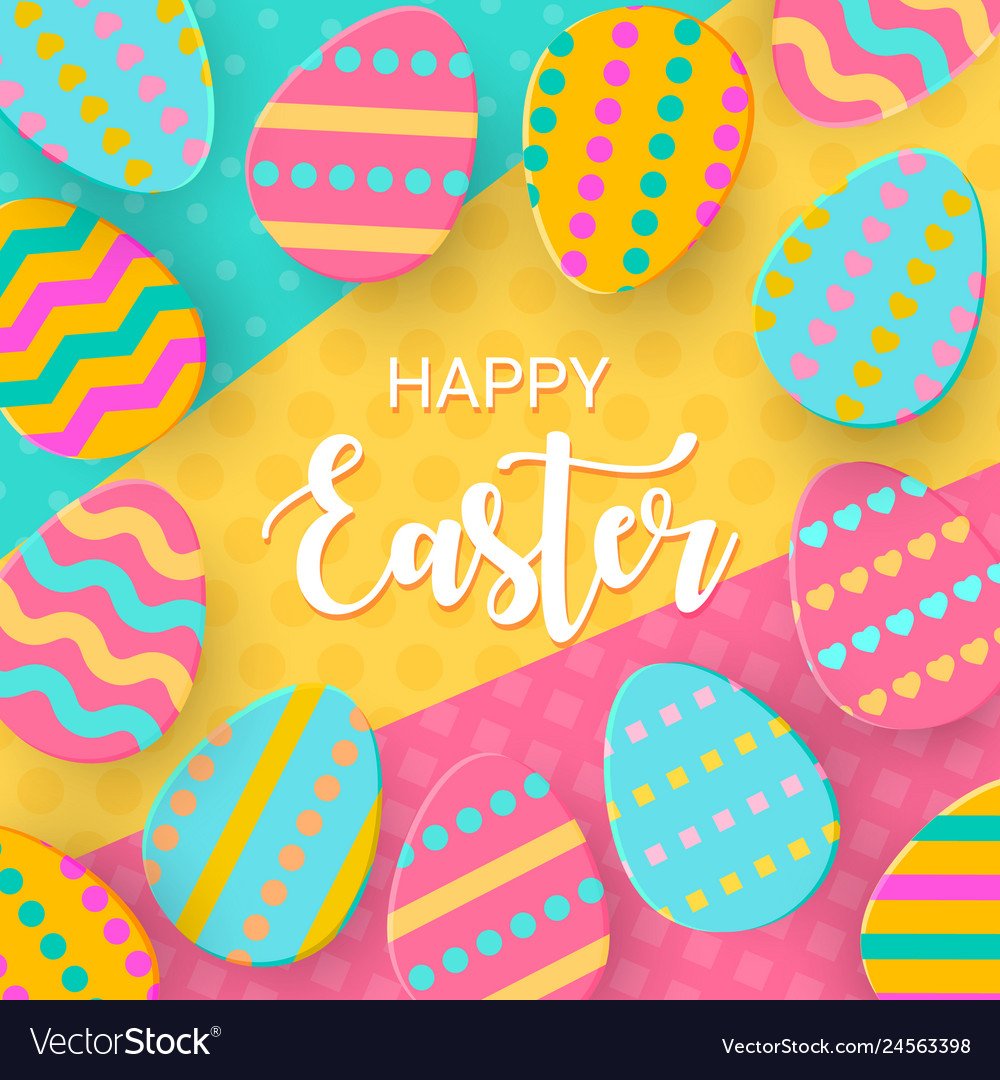 Happy easter greeting banner with a lettering