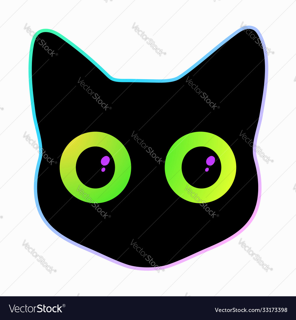 Head a black cat with cute colorful eyes