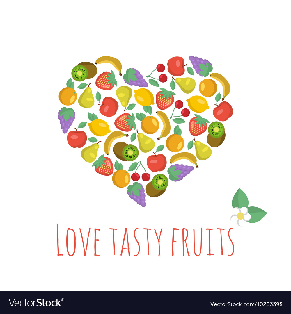 Heart-shaped composition with tasty fruits vector image