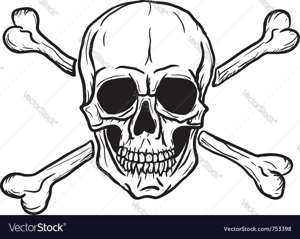 skull and crossbones royalty free vector image rh vectorstock com skull and crossbones vector image skull and crossbones vector art free