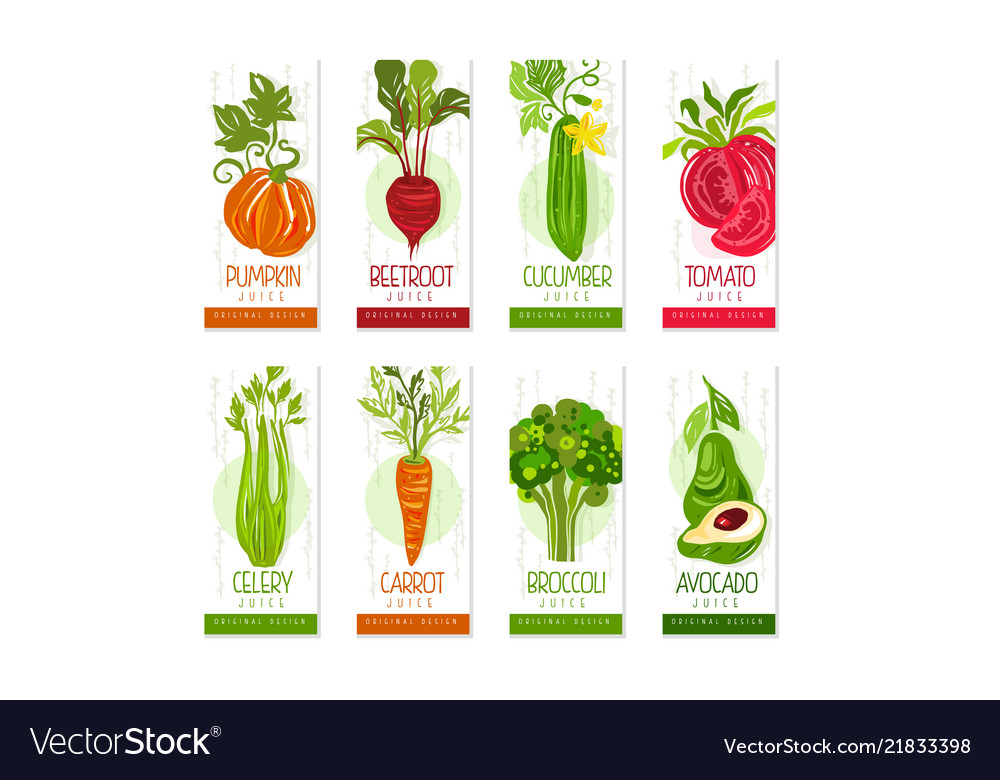 Vertical cards or banners set of fresh vegetables
