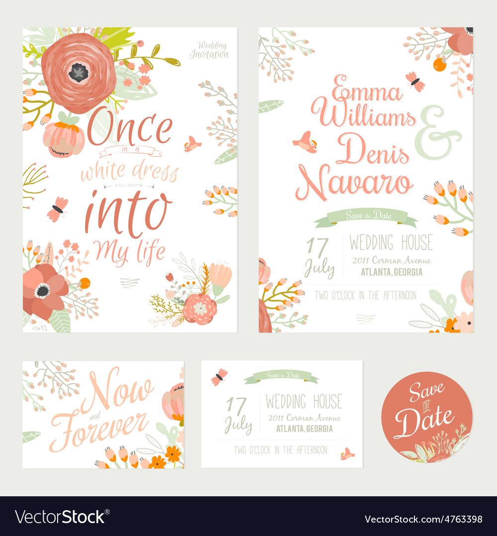 Vintage romantic floral Save the Date invitation
