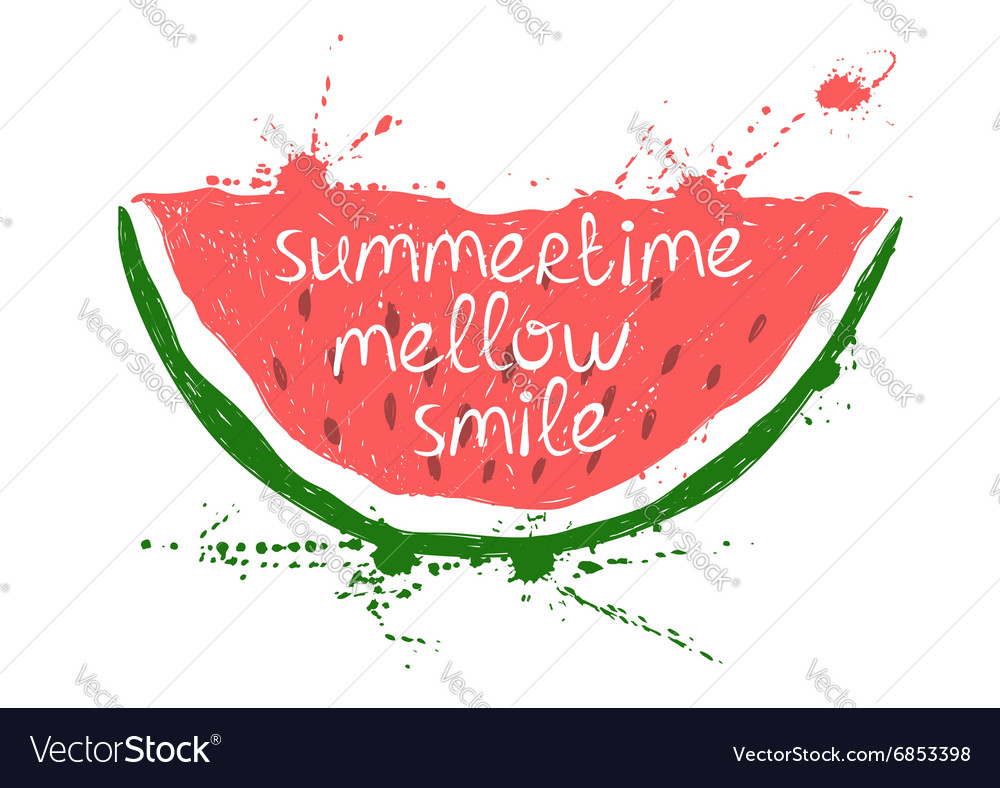 With isolated red slice of watermelon vector image