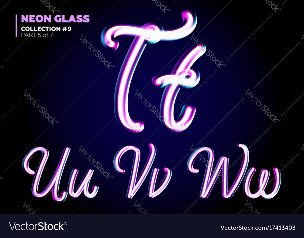 3d glass letters with night neon light effect