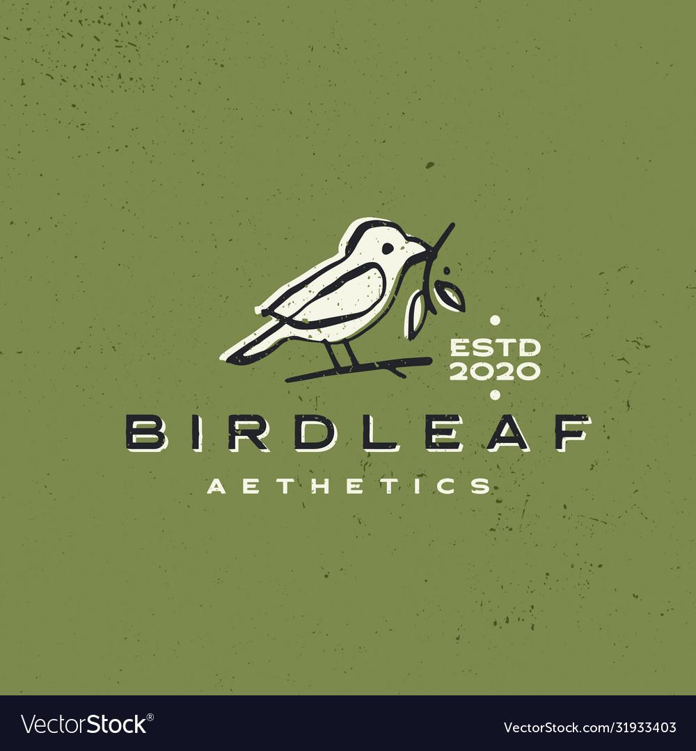 Bird leaf vintage aesthetic ink stroke logo icon