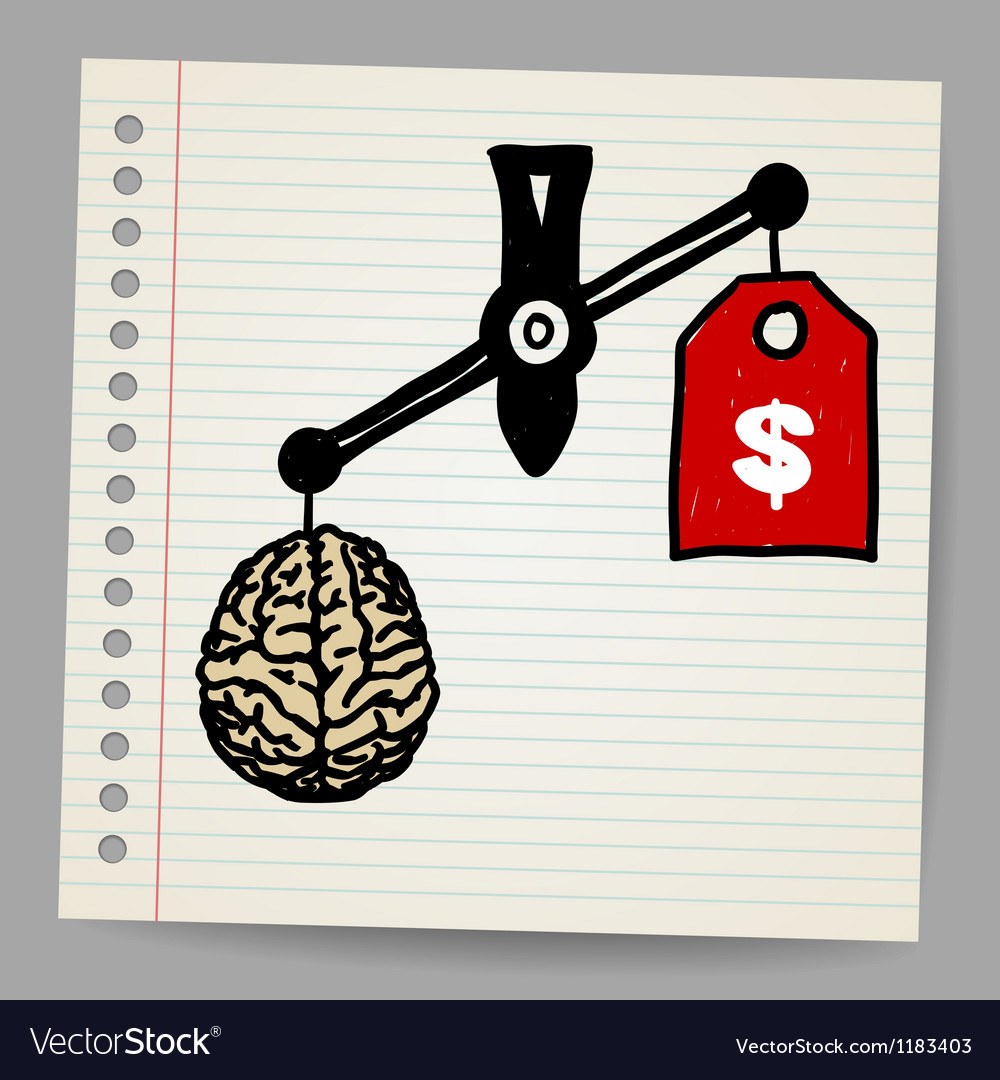 Brains outweigh the dollar sign on the scale vector image
