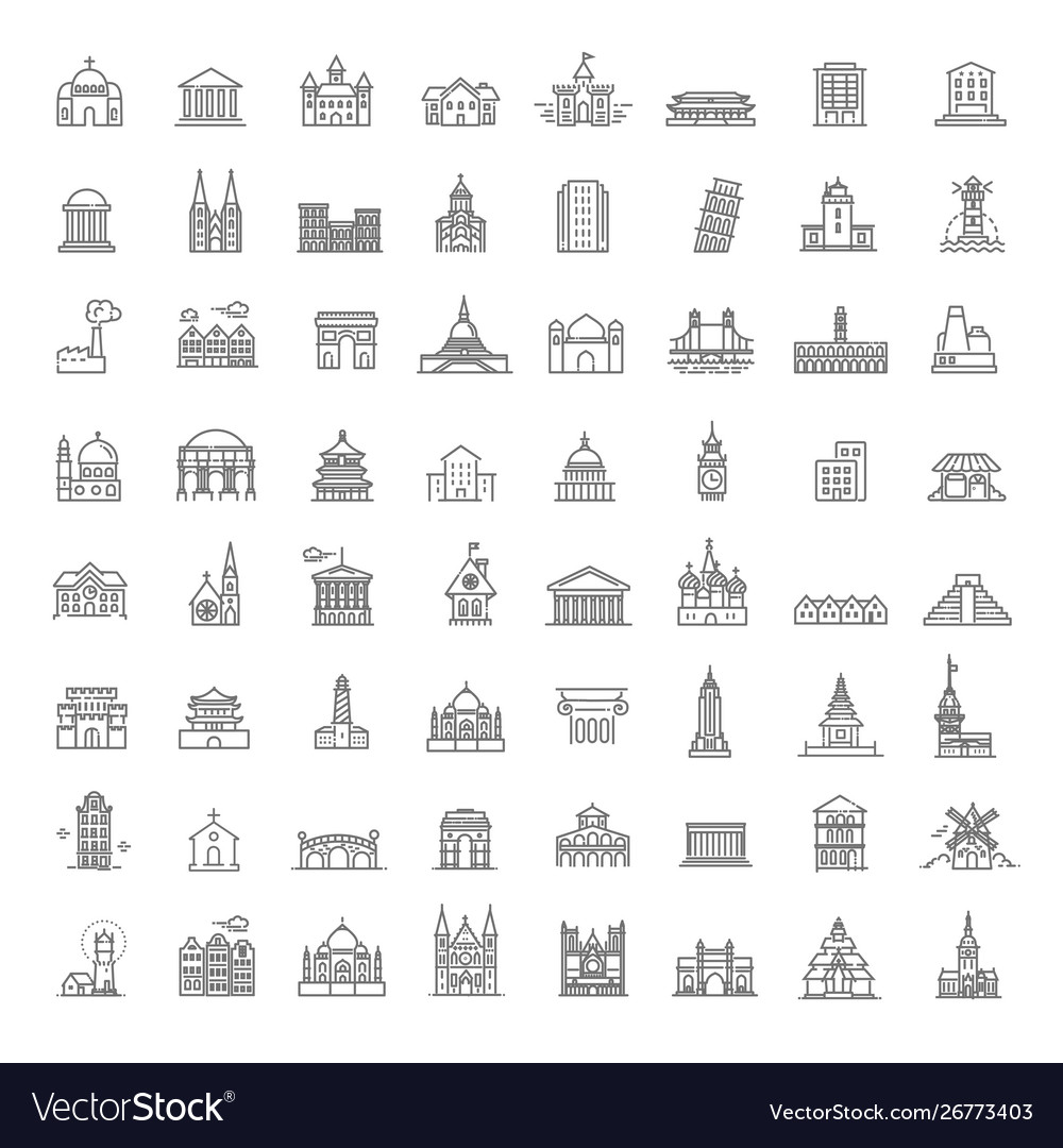 Building icons set government landmarks