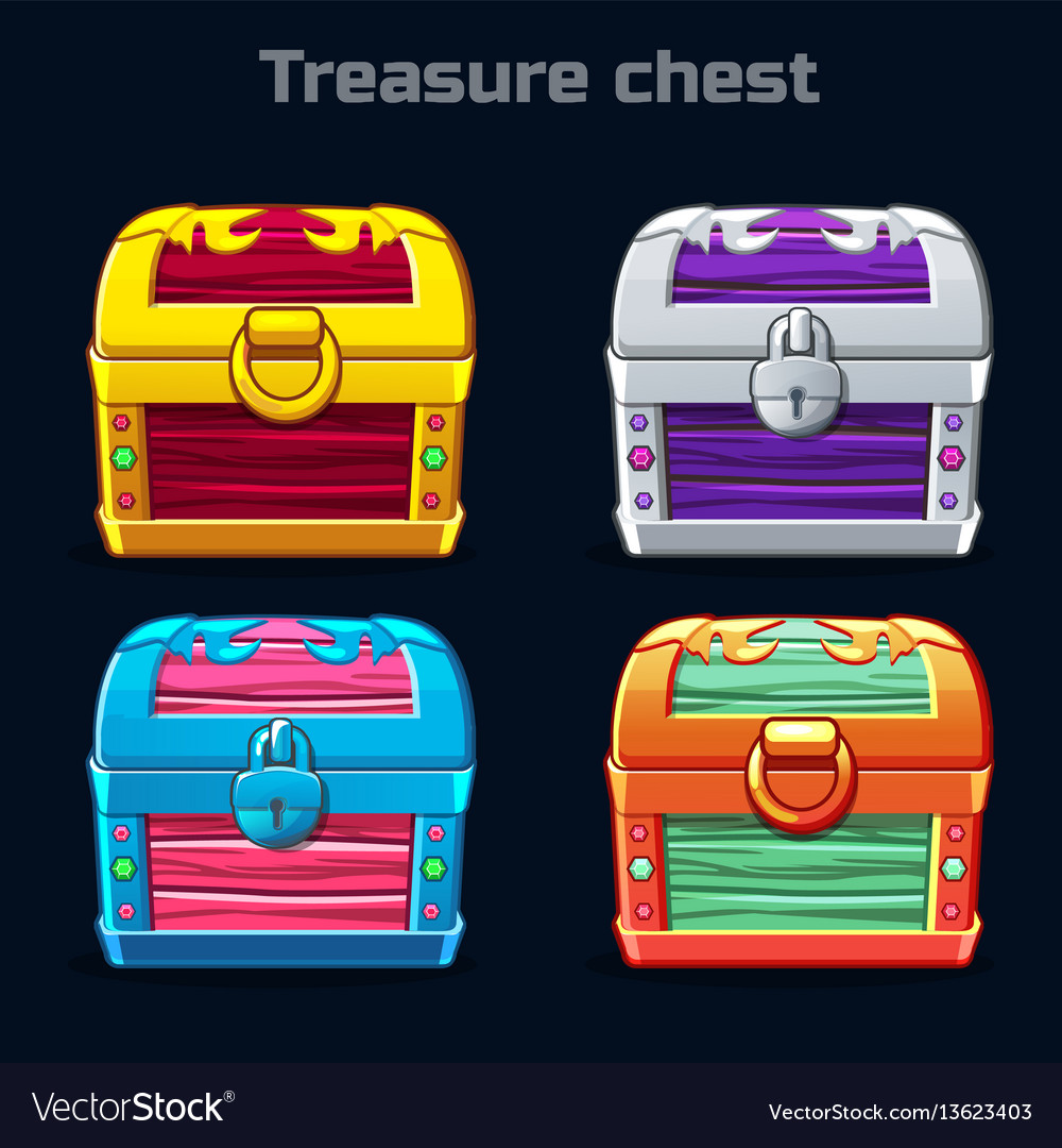 Cartoon antique treasure chest in different colors