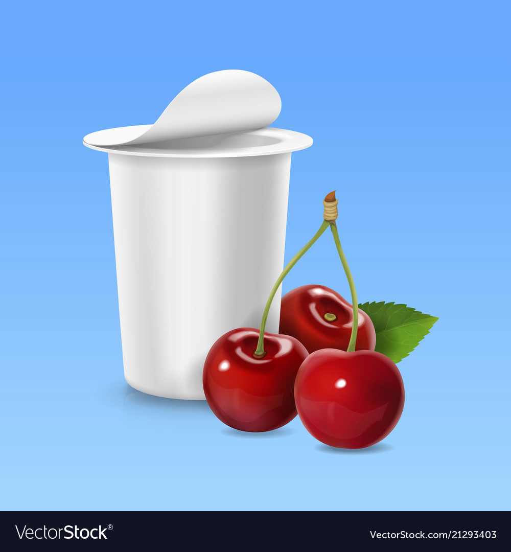 Cherry realistic icon and packing yogurt container