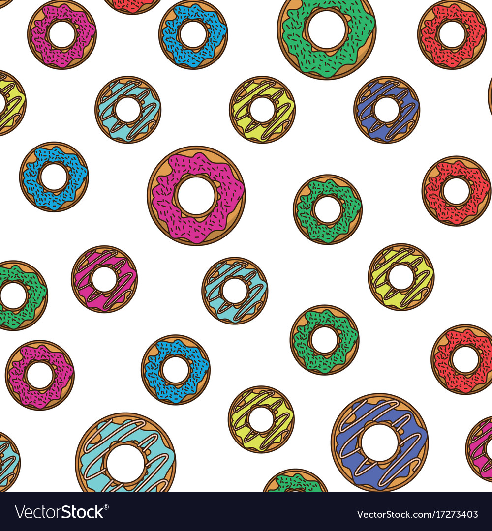 Donut pattern colorful in white background