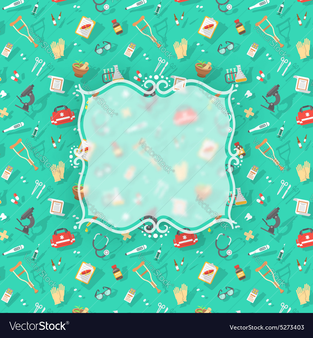 Flat medical background with blurred label