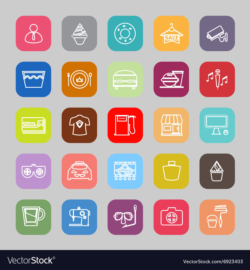 Franchisee business line flat icons
