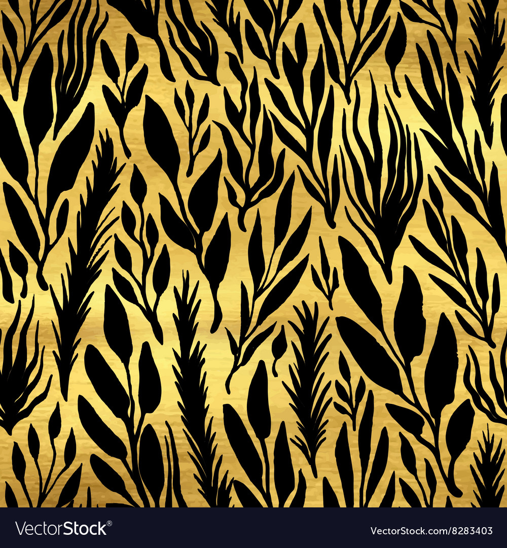 Golden seamless pattern with herbs vector image