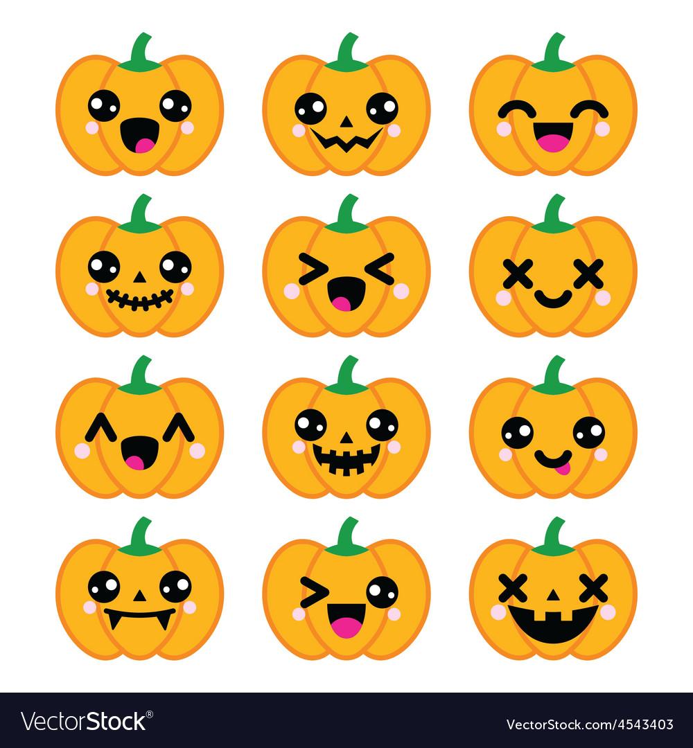 Halloween Kawaii cute pumpkin icons
