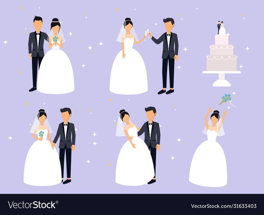 Just married newlyweds bride and groom set bride