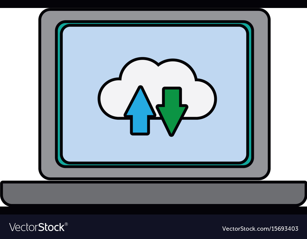 Laptop download and upload to cloud icon symbol