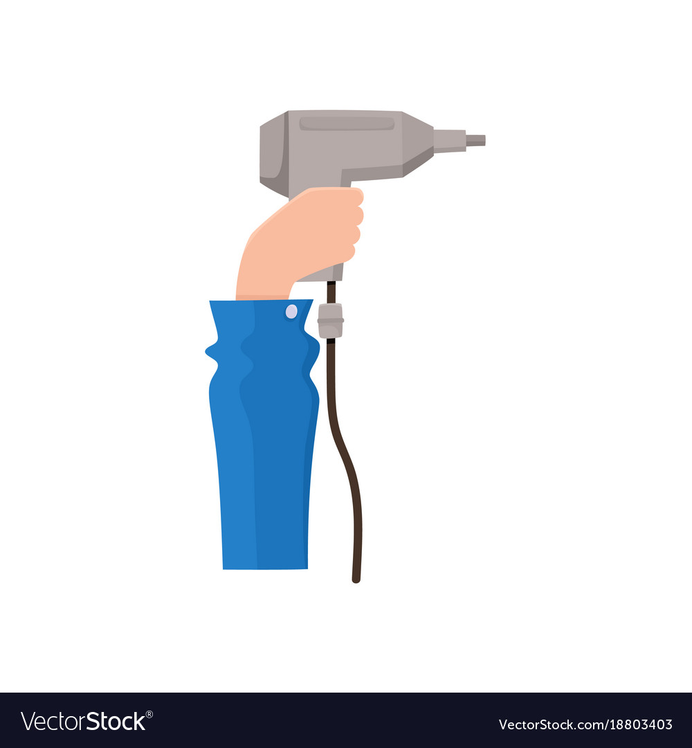 Male hand holding electric drill flat style icon