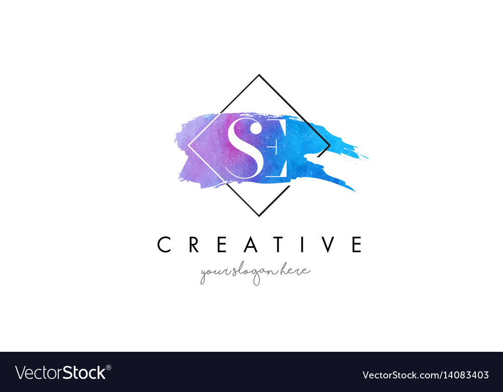 Se artistic watercolor letter brush logo