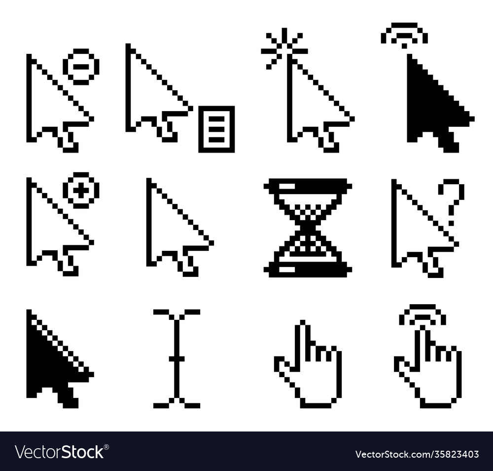 Set pixel computer mouse cursor icons