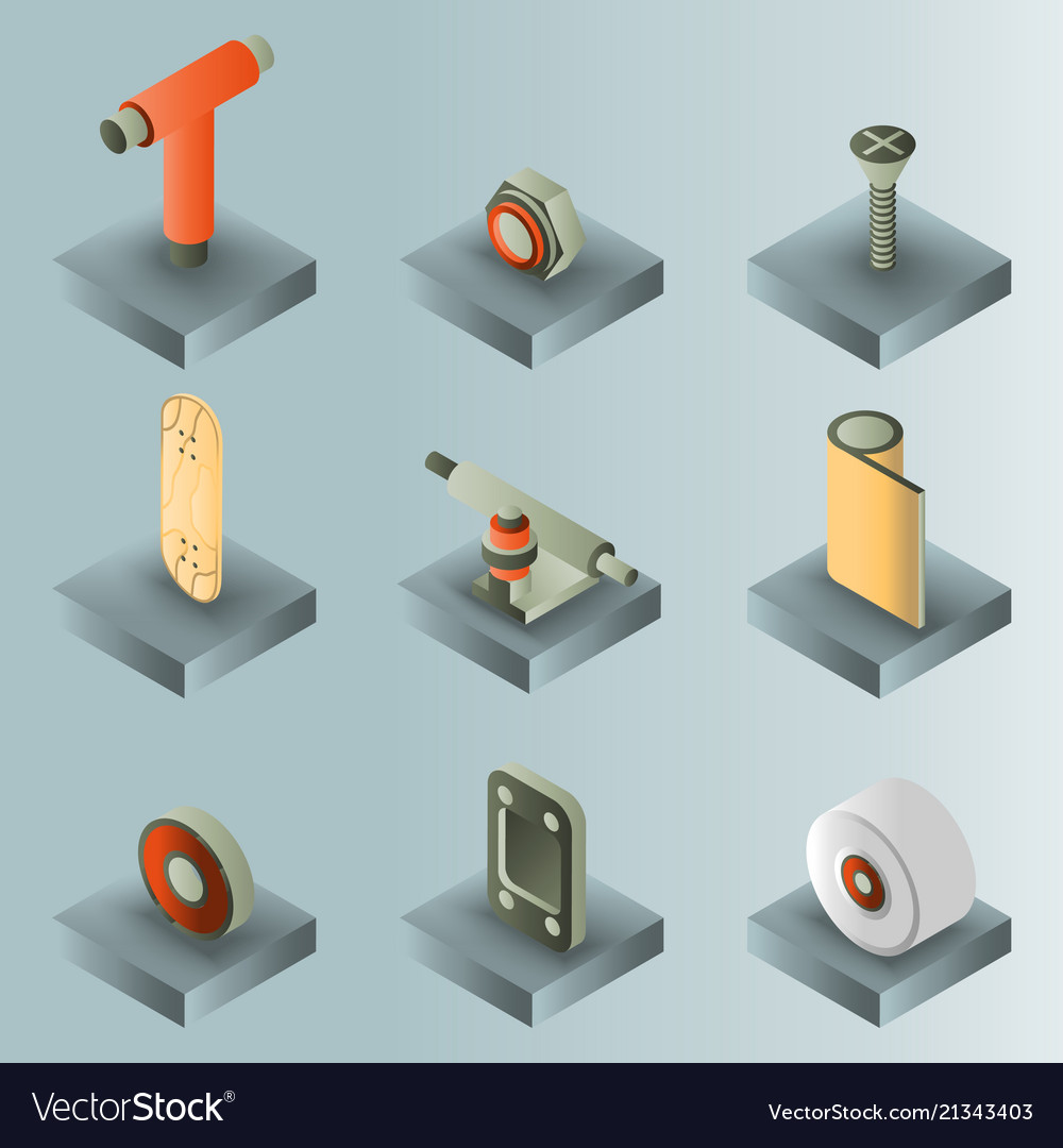 Skate color gradient isometric icons