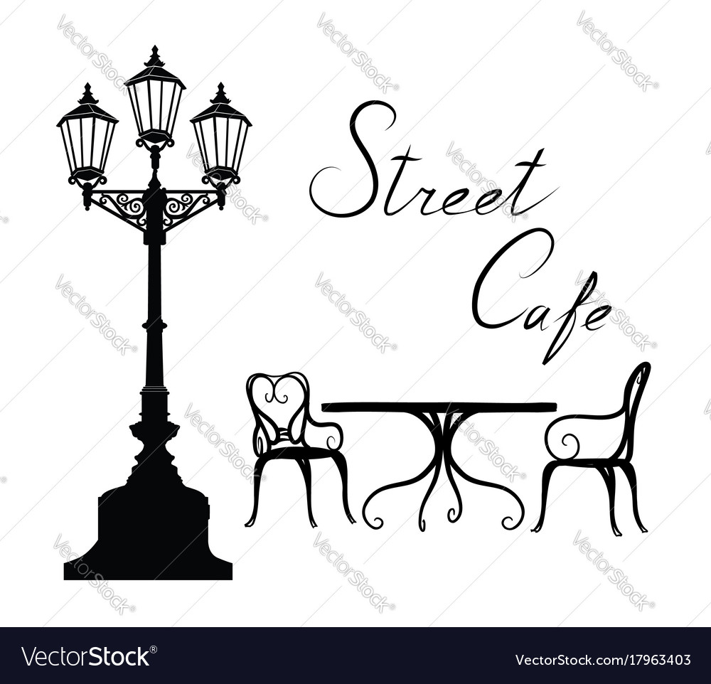 Street cafe - table chairs streetlight and