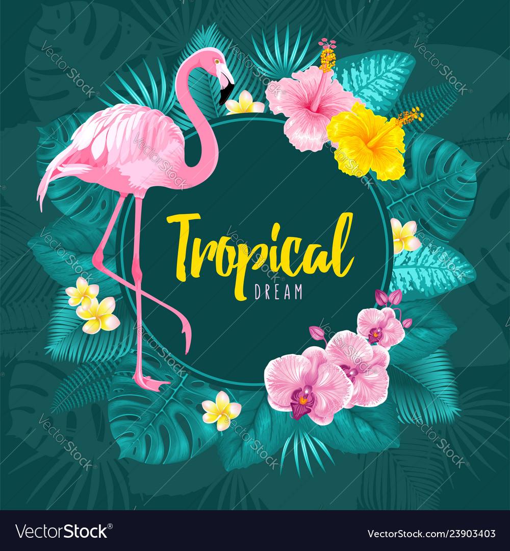 Summer tropical round frame design