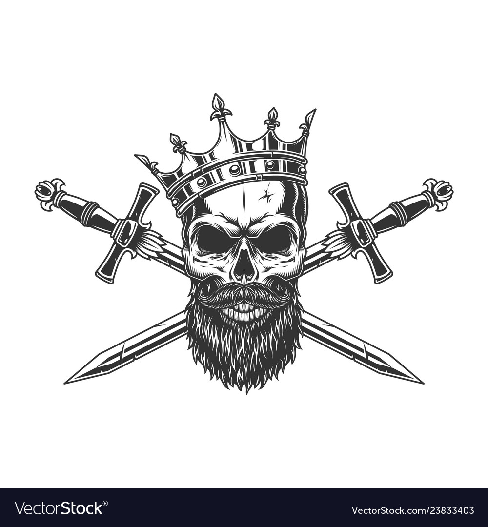 Vintage monochrome king skull in crown vector
