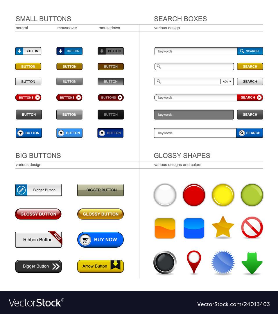 Web design button element a set of buttons box