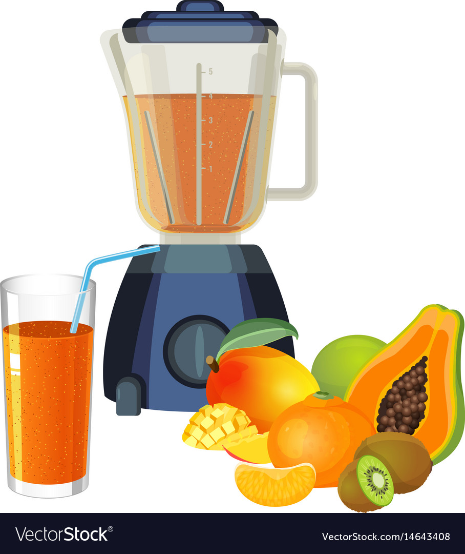 Blender and glass of smoothie made of tropical vector image