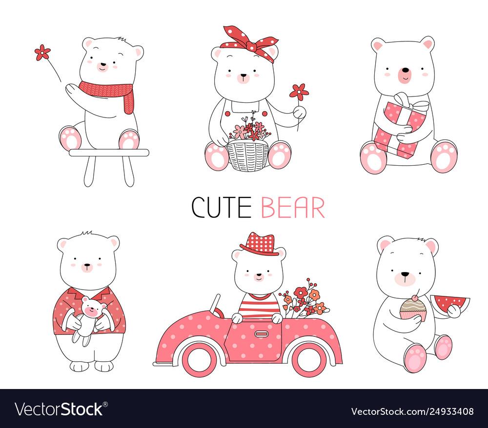 Cute baby animal with flowercar cartoon style