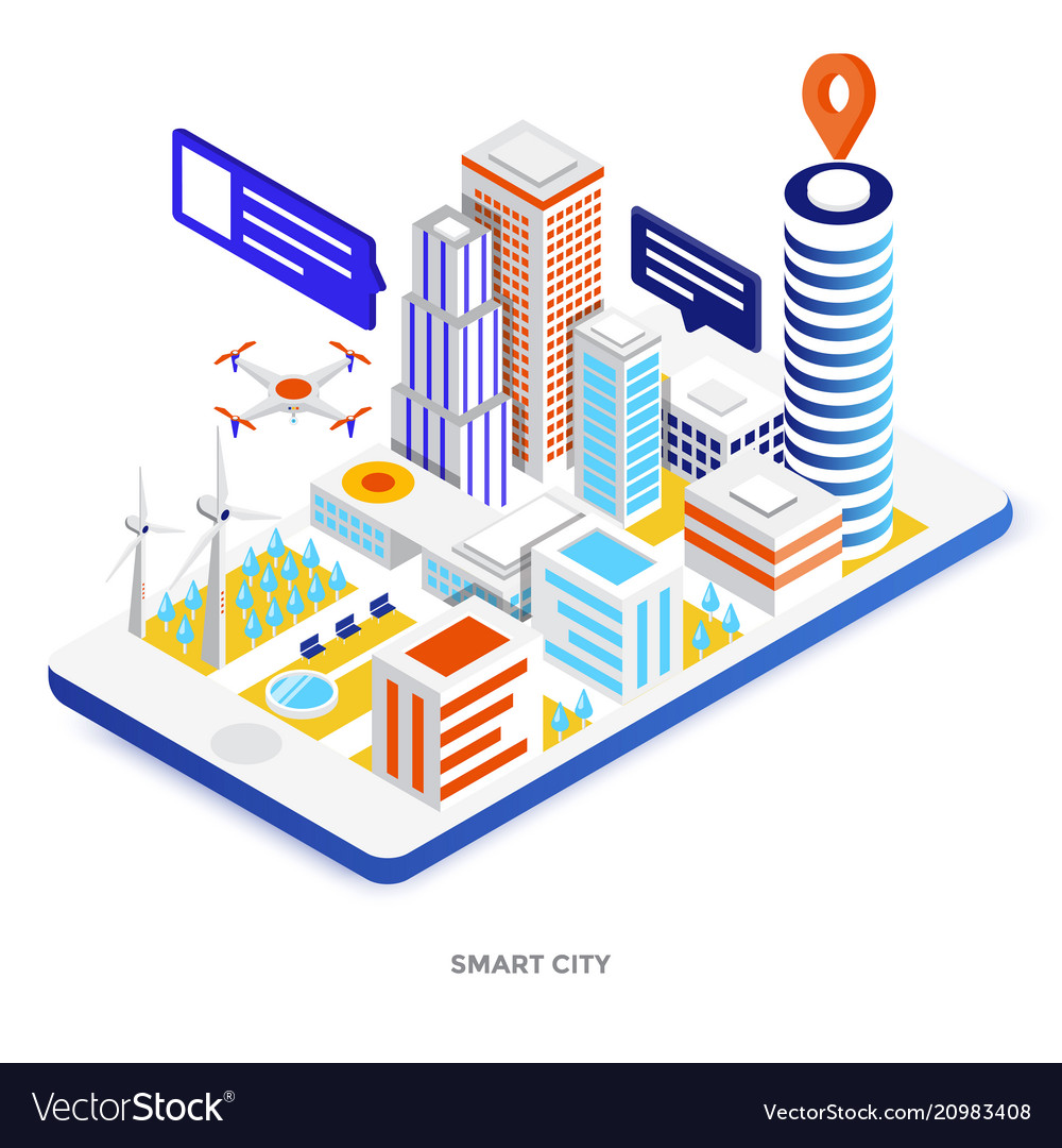 Flat color modern isometric - smart city