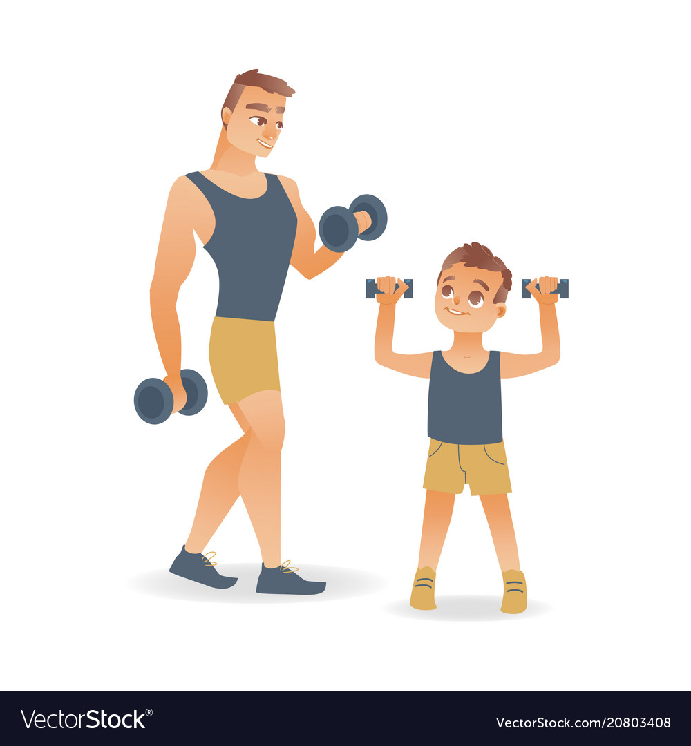 Flat man and kid boy doing dumbbell workout