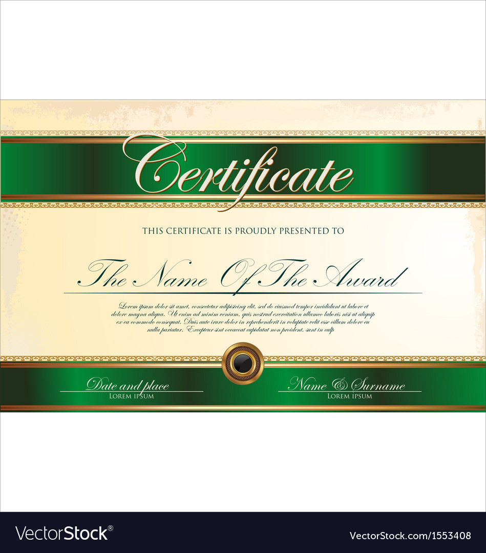 Green And Gold Certificate Template Royalty Free Vector