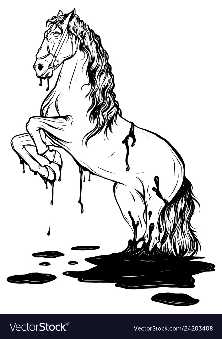 Horse Jumping In A Puddle Drawing Royalty Free Vector Image