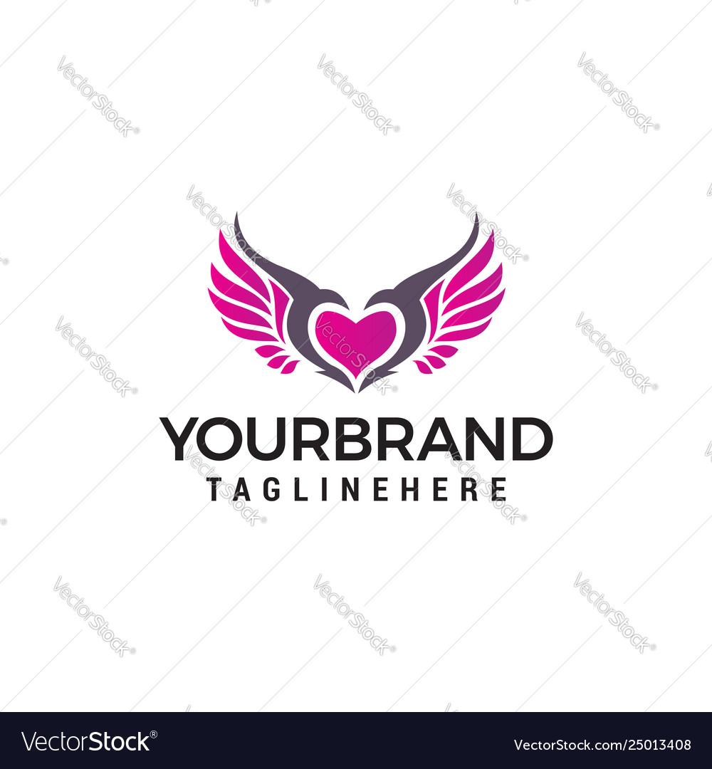 Love wings logo design concept template