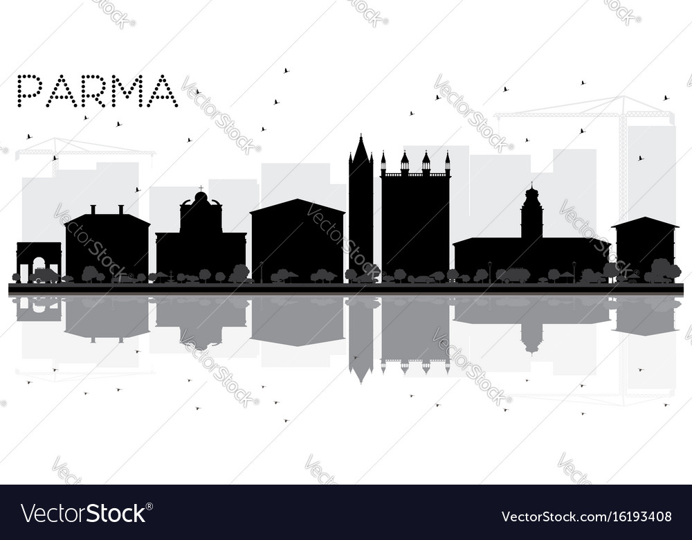 Parma city skyline black and white silhouette vector image