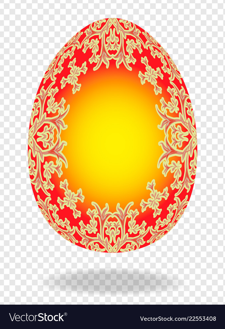 Red golden painted easter egg with a pattern of