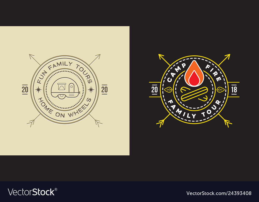 Set of camp logo with campfire and trailer